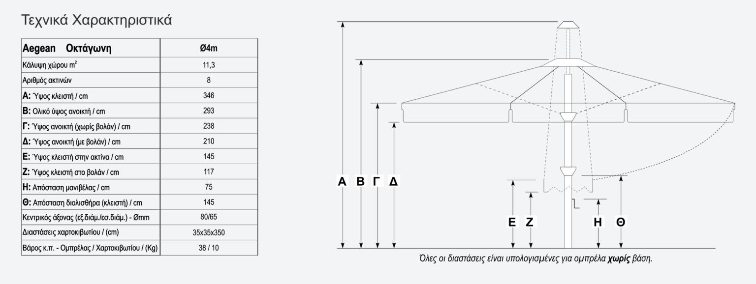 Τεχνικά χαρακτηριστικά οκτάγωνης ομπρέλας Aegean 4x4