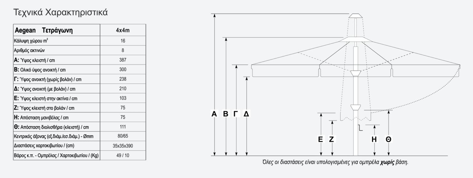 Τεχνικά χαρακτηριστικά ομπρέλας Aegean 4x4