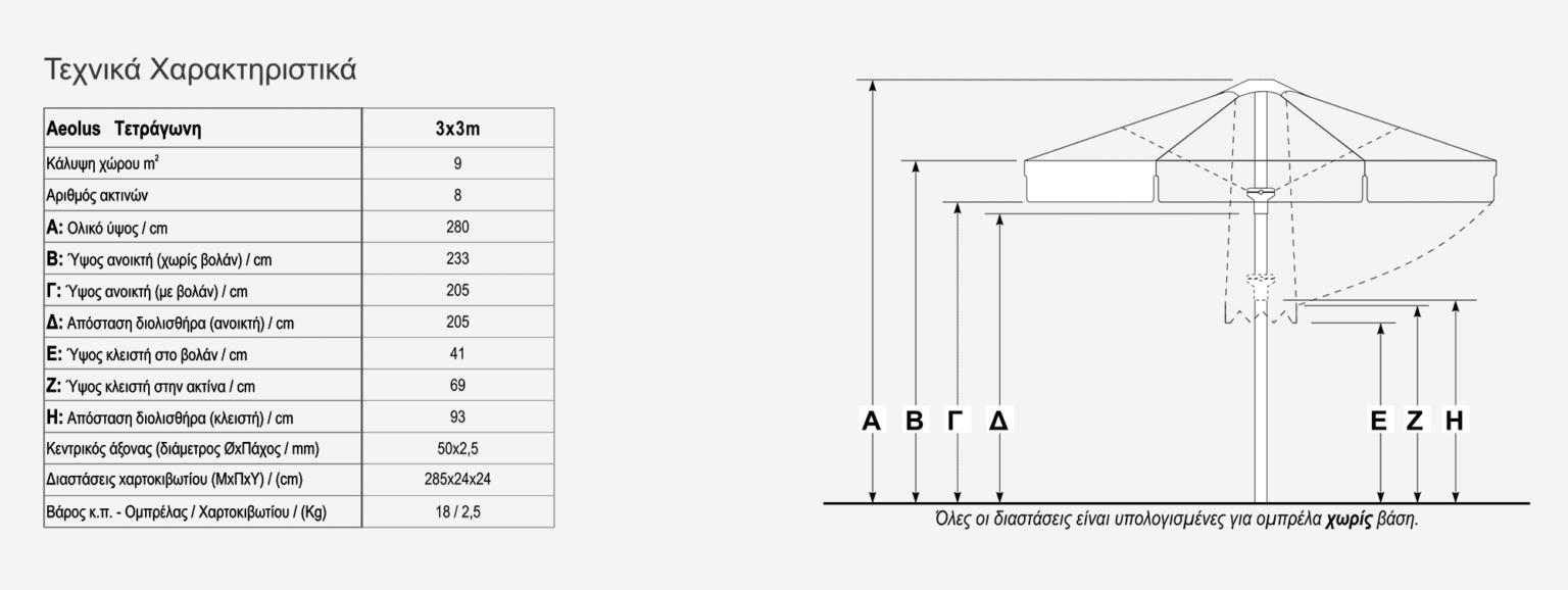 Τεχνικά χαρακτηριστικά τετράγωνης ομπρέλας Aeolus 3x3