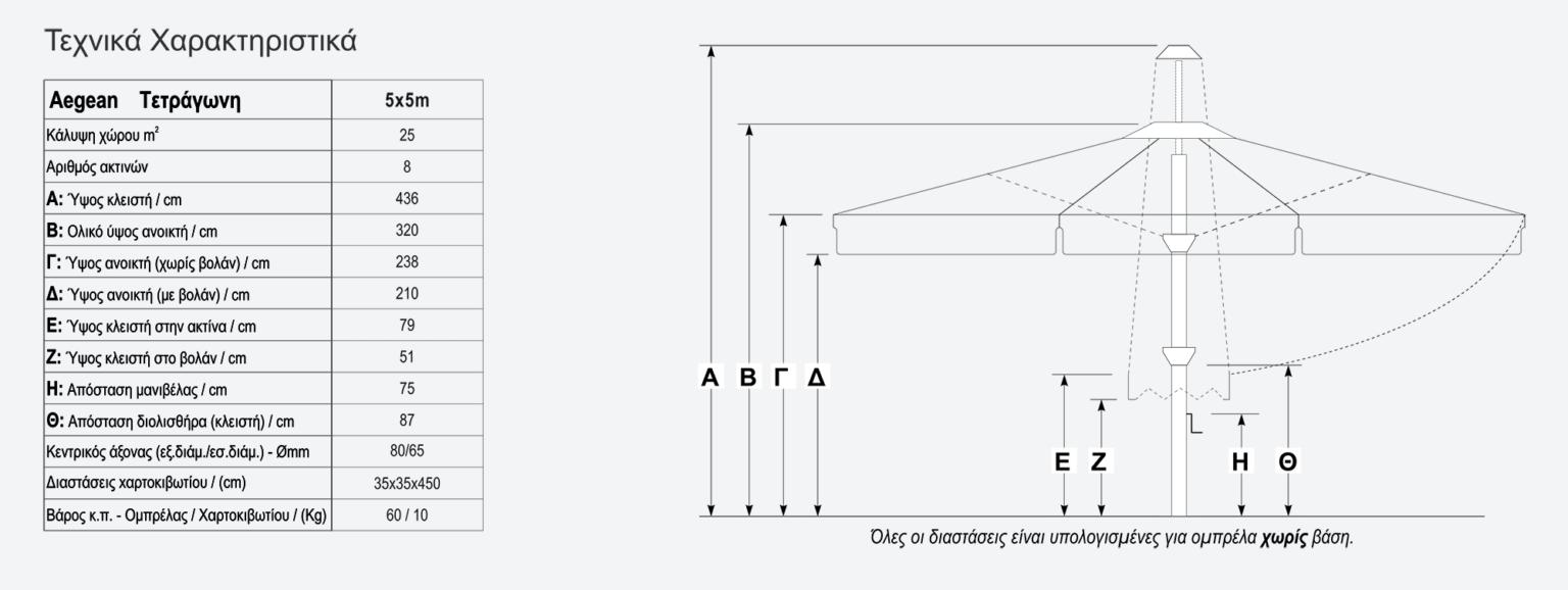 Τεχνικά χαρακτηριστικά τετράγωνης ομπρέλας Aegean 5x5
