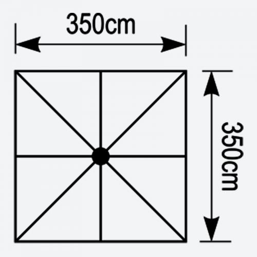 Κάτοψη ομπρέλας Aegean 3,5x3,5