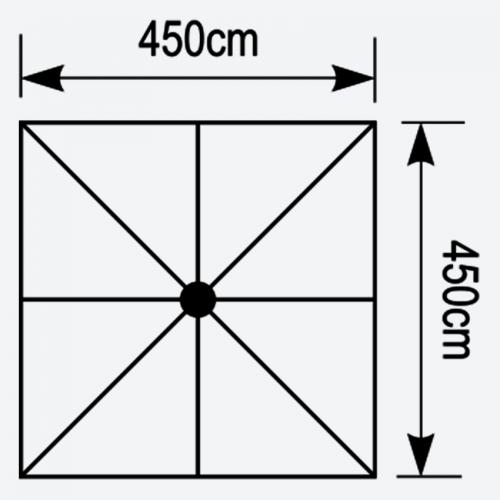 Κάτοψη ομπρέλας Aegean 4,5x4,5