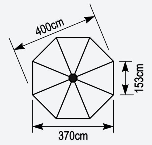 Κάτοψη οκτάγωνης ομπρέλας Aegean 4x4