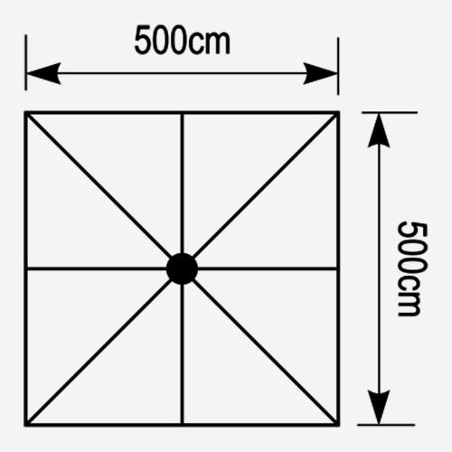 Κάτοψη τετράγωνης ομπρέλας Aegean 5x5