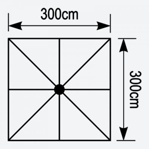 Κάτοψη τετράγωνης ομπρέλας Aeolus 3x3
